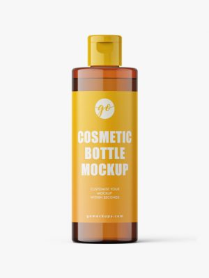 Cosmetic bottle mockup 100 ml / amber