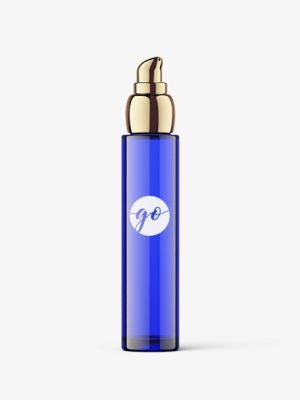Glass bottle blue mockup with airless pump