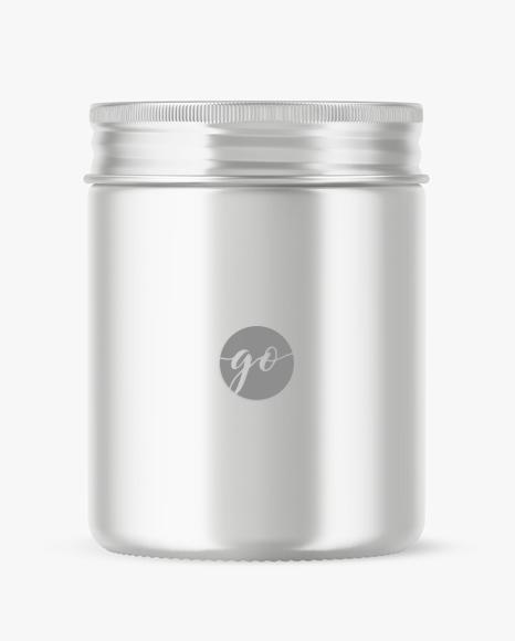 Metallic cosmetic jar mockup P0037