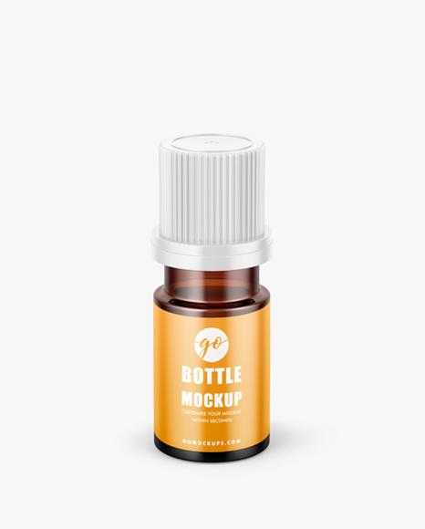 Small amber glass bottle
