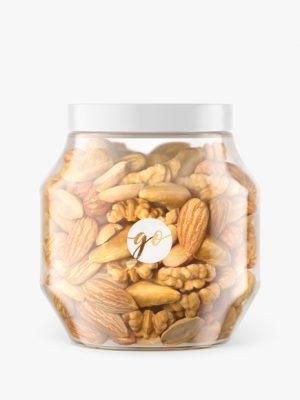 Plastic jar with nuts mockup #P0049